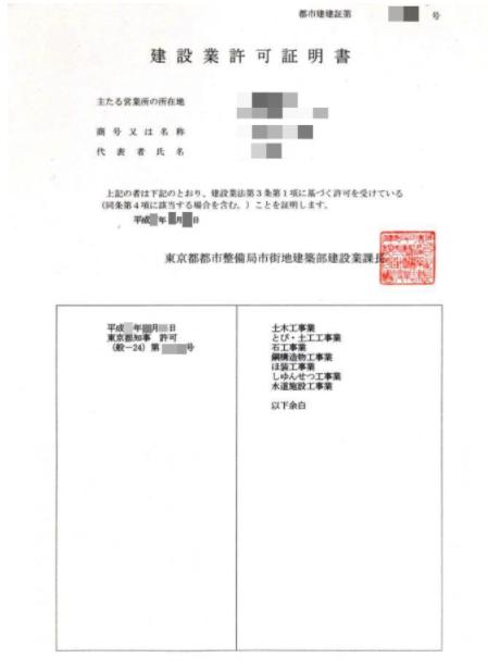 東京都知事許可の証明書の例