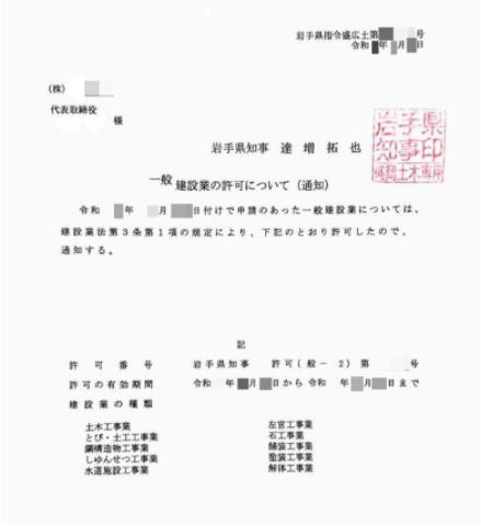 岩手県知事許可の通知書の例